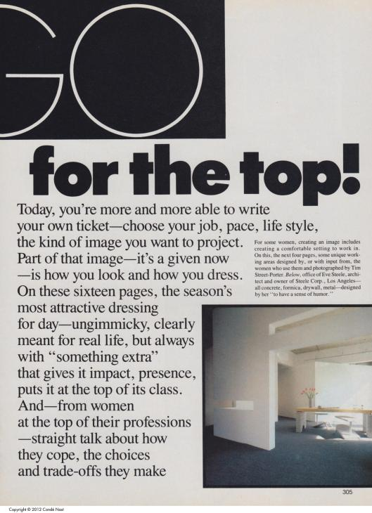 "FIGURE 1, 9.) ""GO For the Top!"" VOGUE August 1984, 304-322."